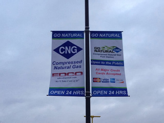 Double sided pole banners for Orange County auto dealerships