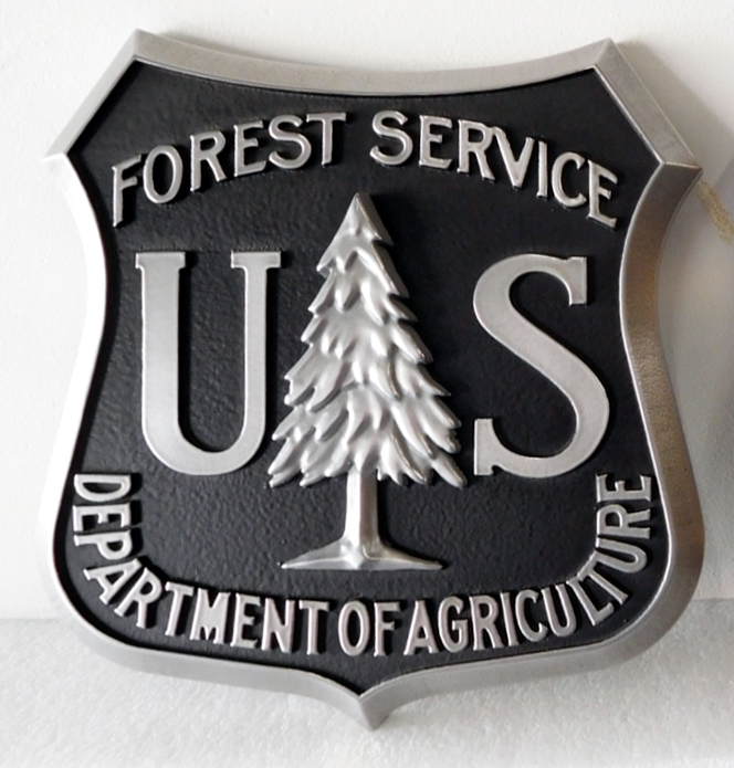 AP-5750 - Carved Plaque of the Seal/Logo of the US Forest Service (Department of Agriculture), Aluminum Plated