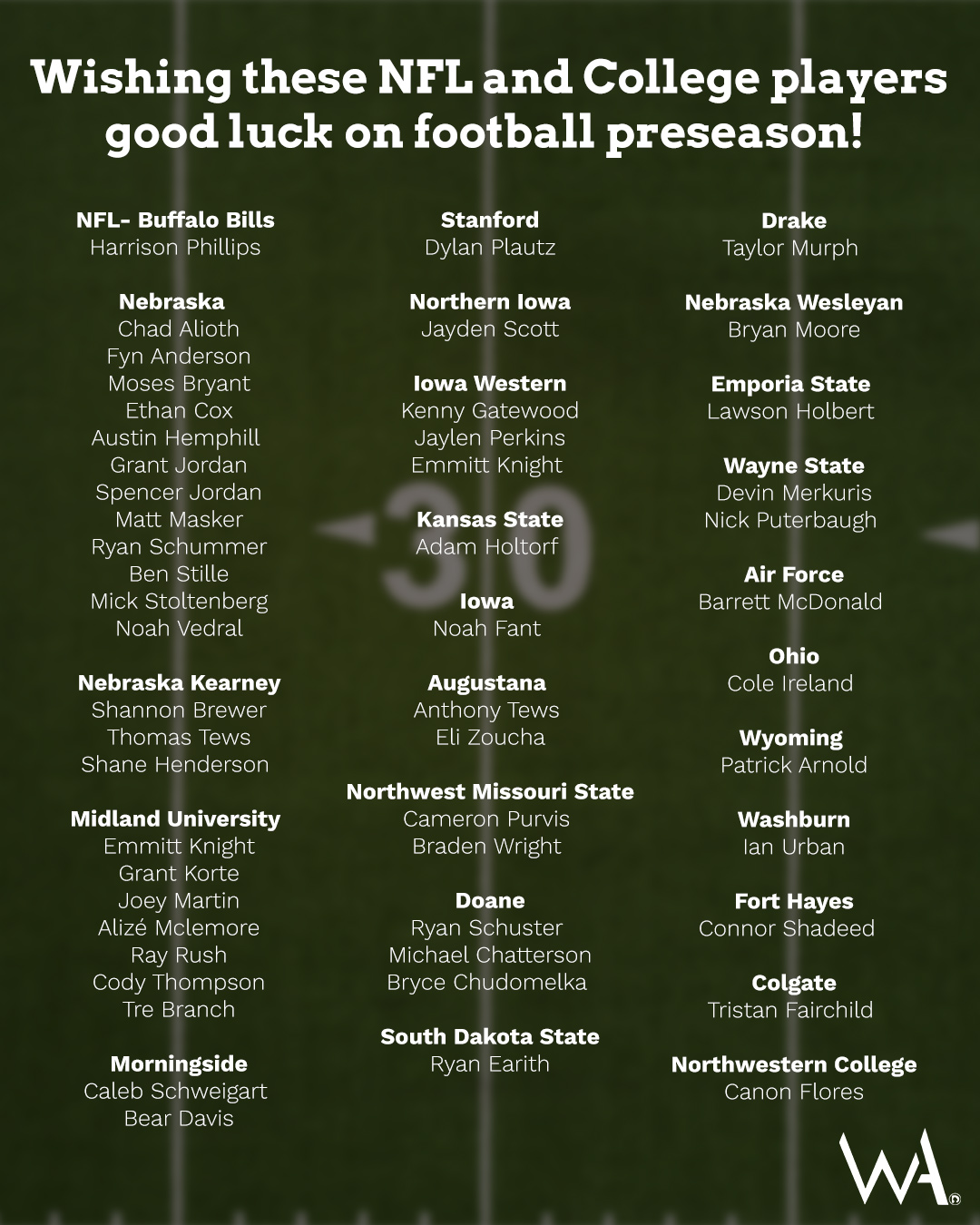 Good luck to these NFL and college athletes!