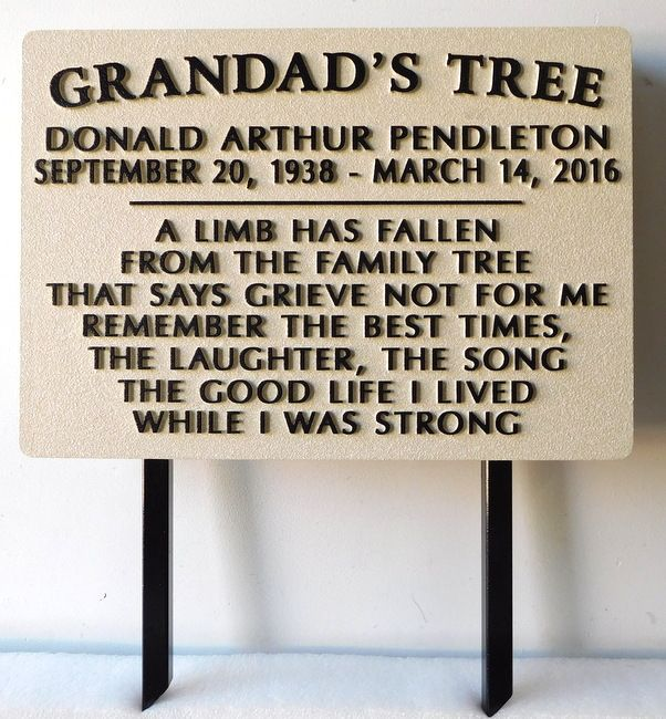 """GC16640 (HDU)  - Carved Custom Memorial Sign  for """"Grandad's Tree"""" Honoring the Memory of a Grandad, Donald Arther Pendleton, 2.5-D Raised Relief with Steel Stakes"""