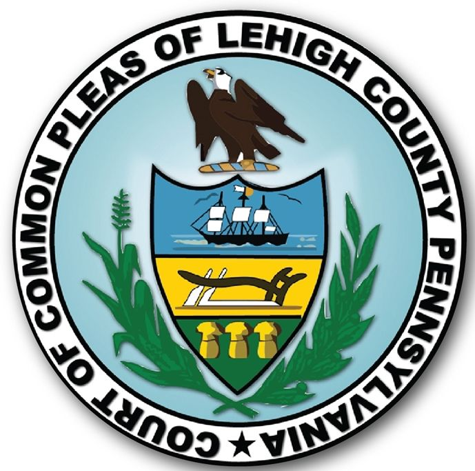 HP-1320 - Carved Plaque of the Seal of the Court of Common Pleas, Lehigh County, Pennsylvania, Artist Painted