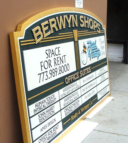 S28011- Shopping Center Store Directory Wooden Sign (Side View)