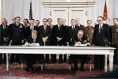 1979: Presidents Carter and Brezhnev signed SALT II Treaty.