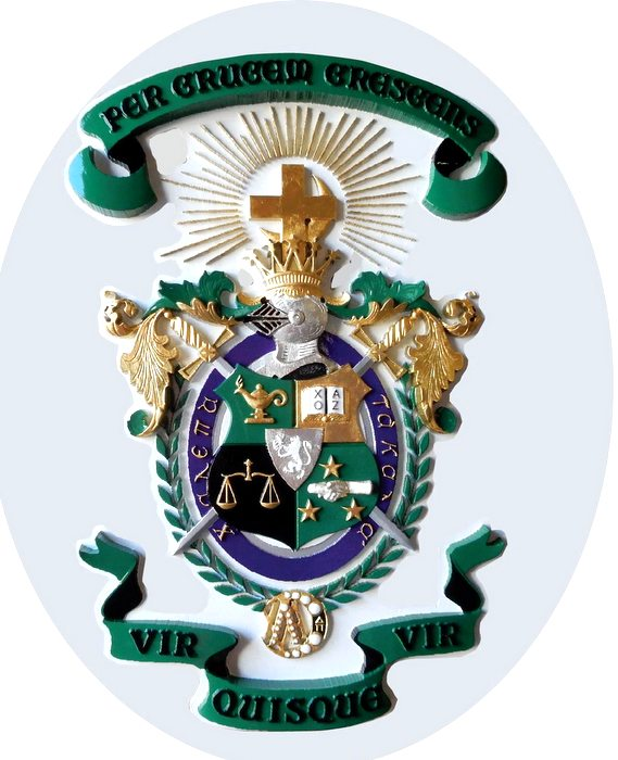 M2027 - Carved 3D Coat-of-Arms for Lambda Chi Alpha college fraterrnity, with 24K Gold and Silver Leaf Gilding (Gallery 34)