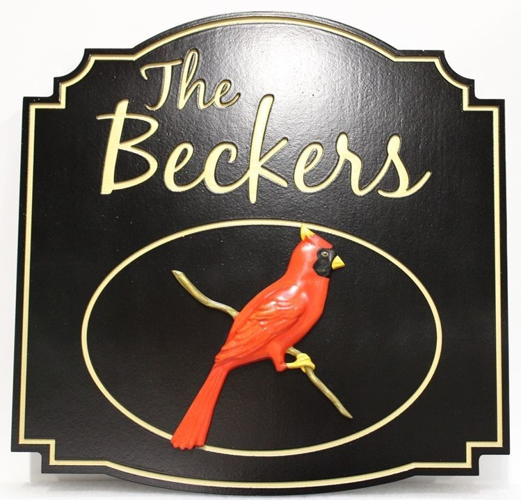 """I18503A - Engraved Residence Name Sign """"The Beckers"""", with Carved 3-D Cardinal Bird on a Branch"""