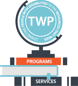 Graphic TWP 101 logo with glove and books