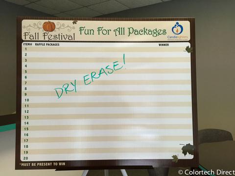 Dry Erase Raffle Board