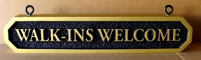 """SA28487 - Hanging Sign with Gold Metallic Paint for a Shop , """"Walk-ins Welcome""""."""