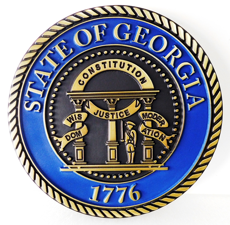 BP-1190 - Carved Plaque of the Great Seal of the State of Georgia, Artist Painted