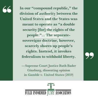 Ruth Bader Ginsburg Quote Gamble v. United States (2019)