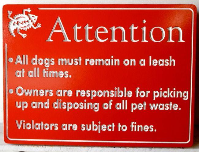 """KA20776 - Carved Engraved """"Dog Rules"""" Sign for HOA"""