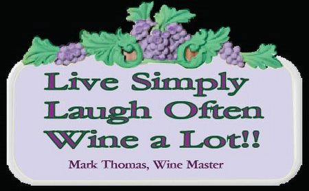 "R27355 - Personalized Carved Wood Wine Plaque ""Live Simply, Laugh Often, Wine a Lot!"""