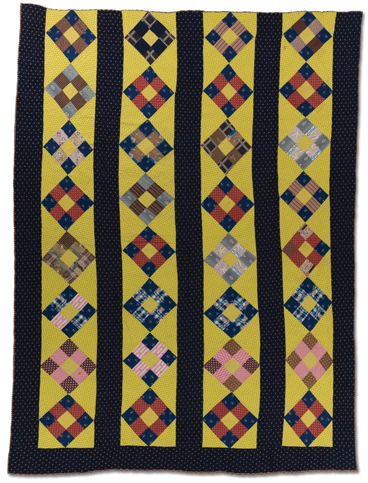Nine Patch, Maker unknown, Circa 1840 – 1860, Possibly made in Lancaster County, Pennsylvania, 97 x 71.5 inches, IQSCM 1997.007.0714, Ardis and Robert James Collection