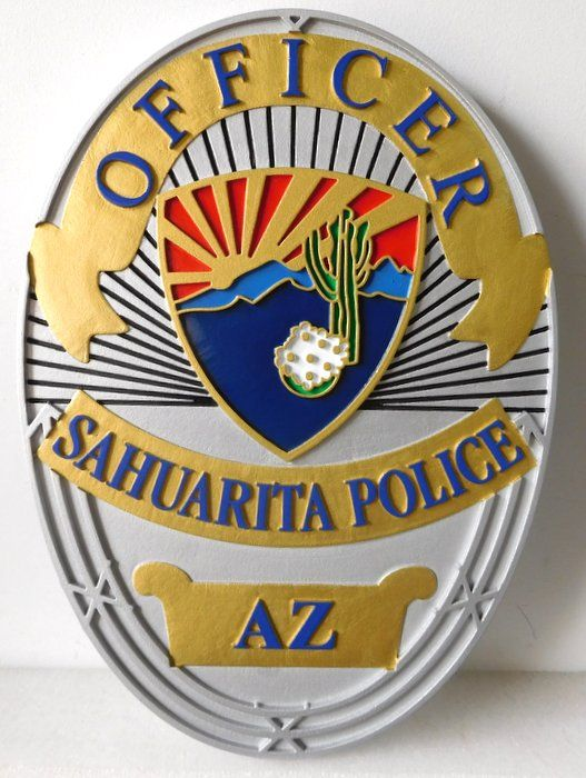 X33700 - Carved Wall Plaque of the Badge of a Police Officer for the Town of Sahuarita, Arizona,