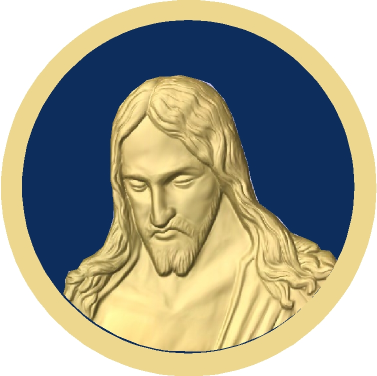 D13351 - Gold-leaf gilded bas-relief carving of head of Jesus Christ