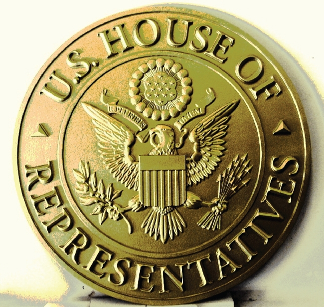 U30114 - Carved 3-D HDU  Antique Brass Wall Plaque of the Seal of the US House of Representatives