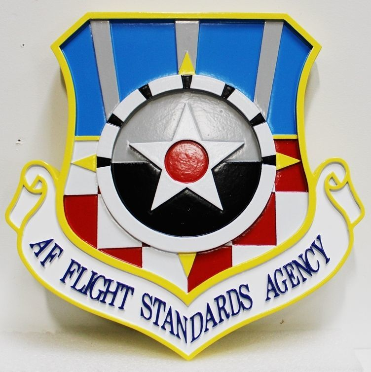 LP-1813 - Carved 2.5-D HDU Plaque of the Crest of the US Air Force Flight Standards Agency