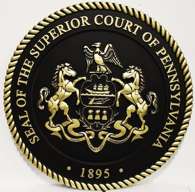 GP-1383 - Carved Plaque of theSeal of the Superior Court of Pennsylvania, 3-D Brass-Plated