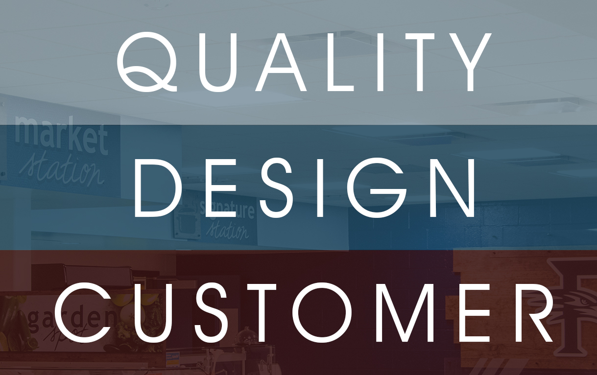 Quality, Design, Customer image, represents the Descon signage company mission statement