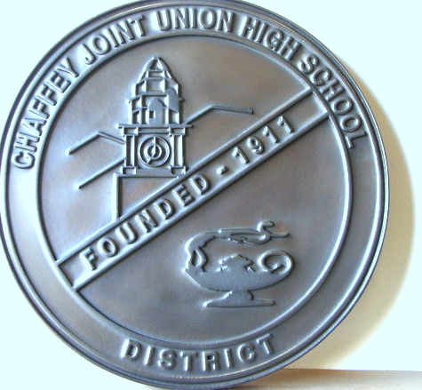 M7266 - 2.5D Flat Relief Nickel-Silver Coated Wall Plaque for Unified School District