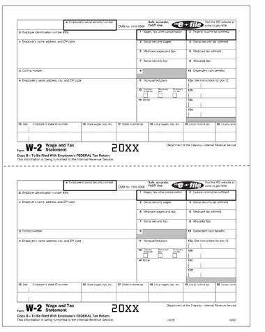 LW2B - Laser W2 Copy B - Employee's Federal