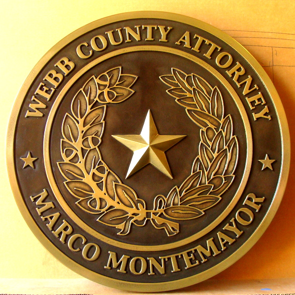 X33395A - Carved Brass Plaque of the Great Seal of Texas for Webb County, County Attorney's Office
