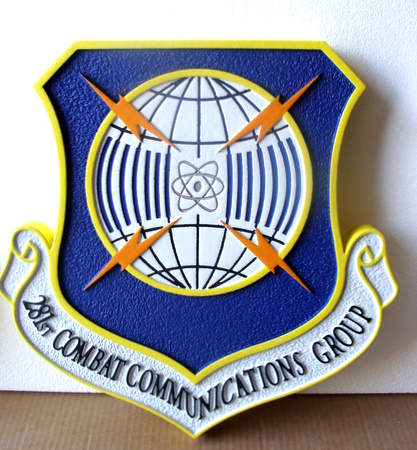 LP-4020 - Carved Shield Plaque of the Crest of the 281st Combat Communications Group, Artist Painted