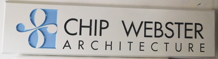 "S28051- Large Carved and Engraved  HDU Commercial Sign made for the ""Chip Webster Architecture"" , 2.5-D Artist-Painted"
