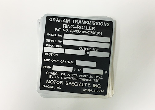 Informational Mechanical Label Decals on Matte Silver