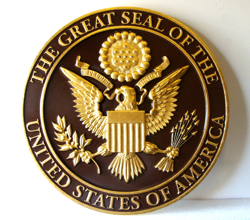 Government Round Seals Carved Wood Wall Plaques - Human plaque dot map us