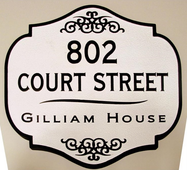 F15435 - Sandblasted, Sandstone Look, Decorative, Carved,  HDU Address Sign for Historic Home
