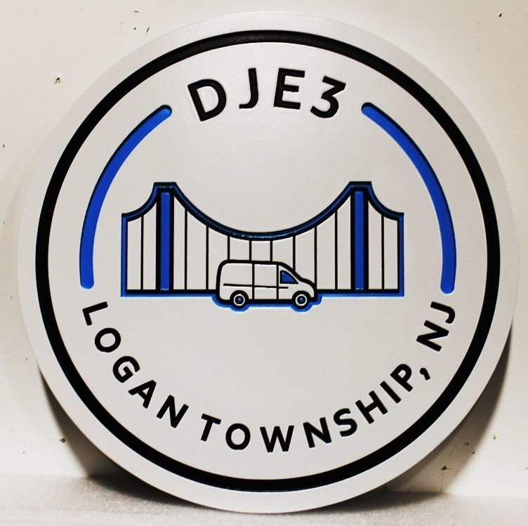 DP-1625 - Carved 2.5-D engraved HDU Plaque of the  Seal ofLogan Township, New Jersey
