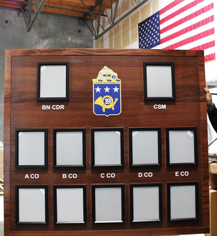 "SA1270 - Chain-of-Command Photo  Board for the US Army's  19th Infantry Regiment, ""The Rock of Chickamauga"",  Carved from African Mahogany"