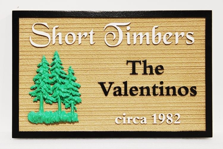 "M22089 - Carved and Sandblasted 2.5-D Multi-level Relief HDU Residence Name  Sign ""Short Timbers""., with 3D Fir Trees as Artwork"