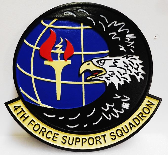 LP-4020 - Carved Plaque of the  Crest of the 4th Force Support Squadron, 2.5-D Artist Painted with Eagle and Torch