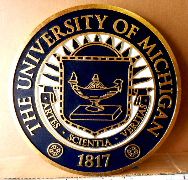 FA15574 - Carved  Plaque of the Seal of The University of Michigan,2,5-D  Gold-Leaf Gilded
