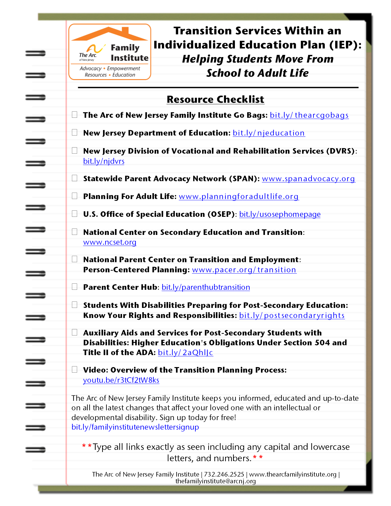 The Arc of New Jersey Family Institute : Resources : Fact Sheets
