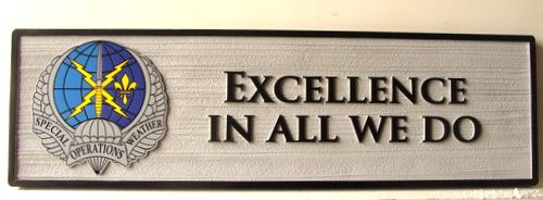 """V31678 - Motto Plaque for US Air Force """"Excellence in All We Do"""", with Carved Special Operations Weather Crest"""