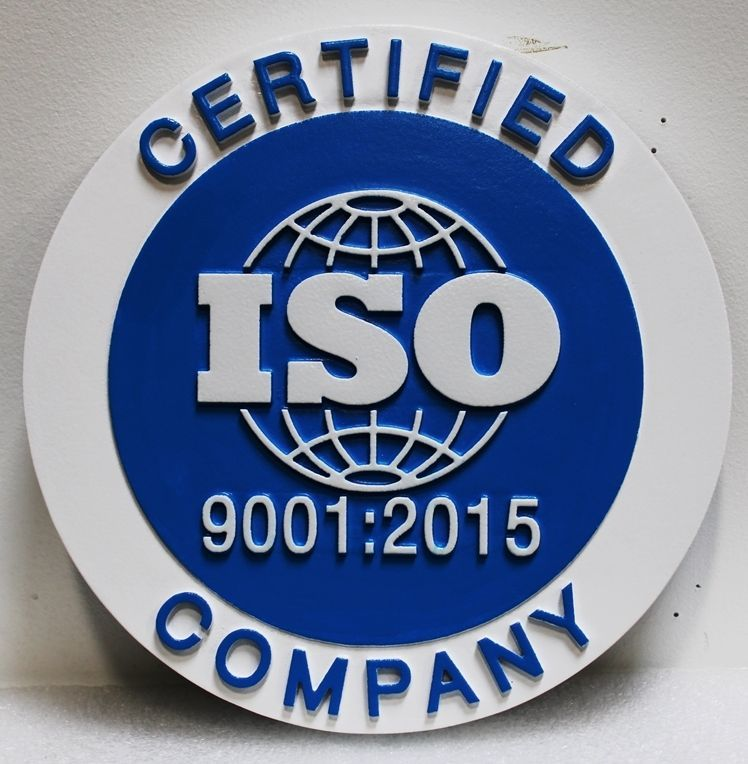 VP-1001 - Carved 2.5-D Multi-Level Relief HDU Plaque for an ISO-Certified Company (International Organization for Standardization)