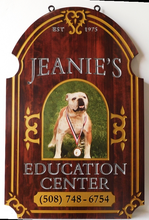 BB11785 - Carved  Mahogany Sign for Jeanie's Education Center, with Giclee Print of Bulldog