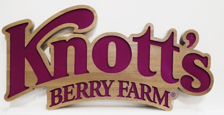 GA16493 - Large Engraved Western Red Cedar Entrance Sign  for Knott's Berry Farm Amusement Park in California