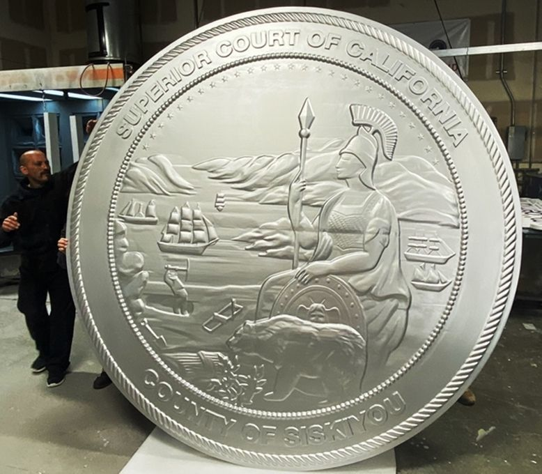 W32053 - Large 8 ft Diameter Carved 3-D Wall Plaque of the Great Seal of the State of California