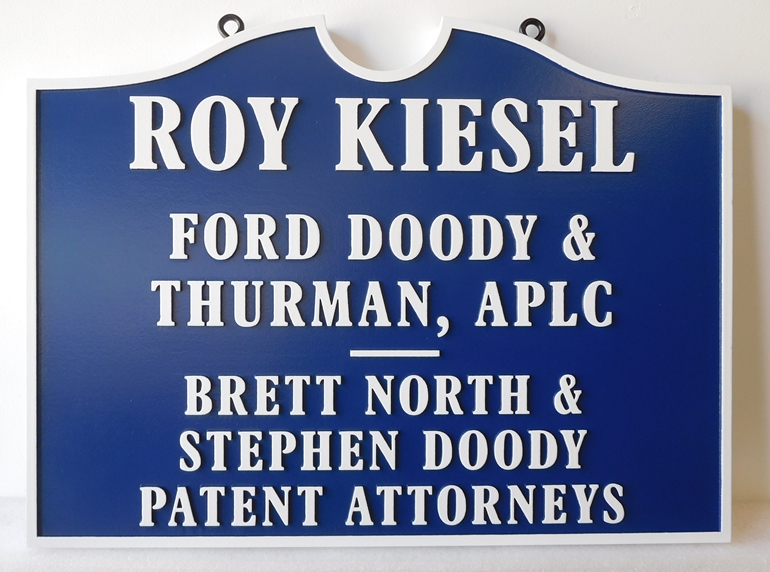 A10421 - Carved, High Density Urethane Sign for A Professional Law Corporartion (APLC) and A Patent Attorney Office