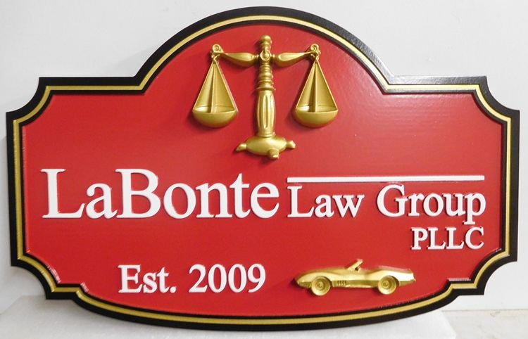 A10323 - Carved, HDU Sign For Law Group PLLC  with 3D Sports Car and Scales Of Justice