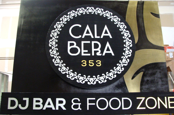 "Q25734 - Dimensional Round Restaurant and Bar Sign, ""Cala Bera"""