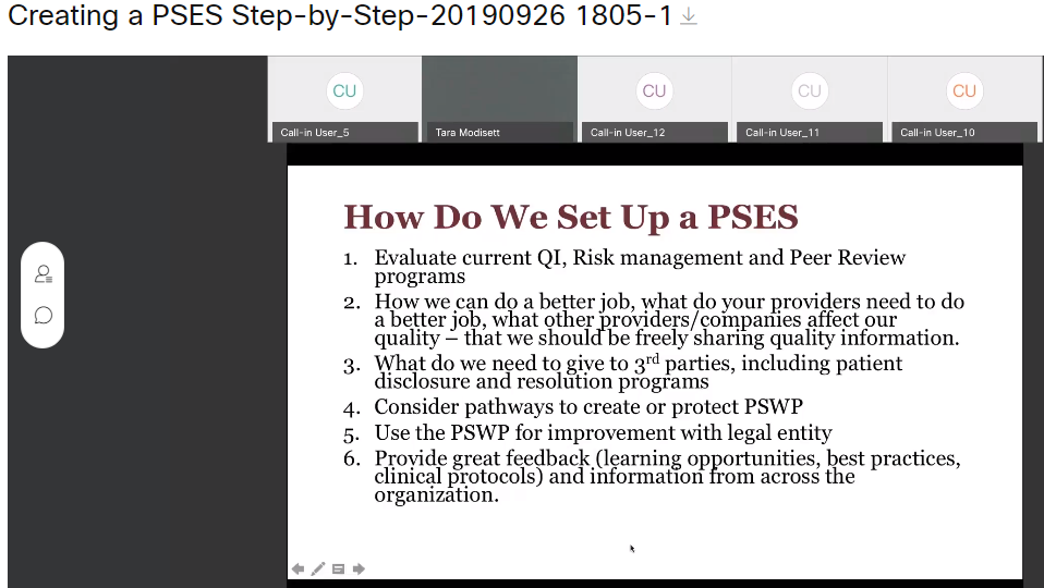 Creating a Patient Safety Evaluation System (PSES) Step-by-Step