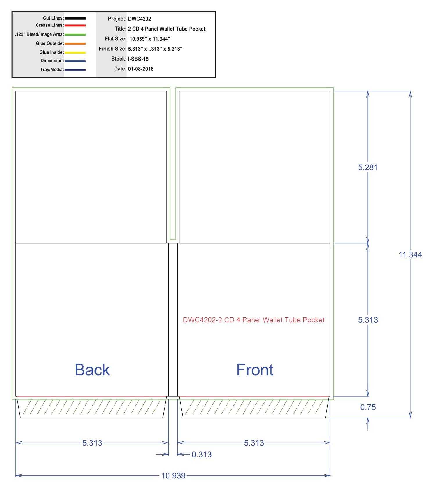 DWC4202-2 CD 4 Panel Wallet Tube Pocket