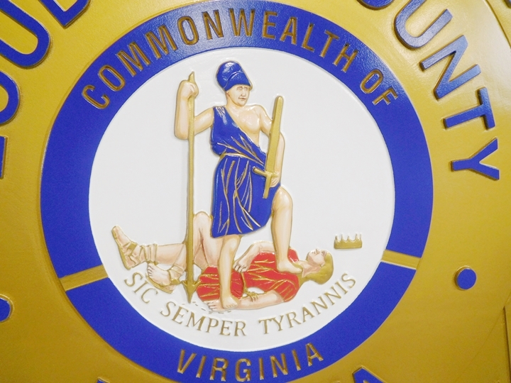PP-1191 -  Close-up of the Carved Plaque of Sheriffs Office, Loudoun County with  Great Seal of Virginia , 3D Artist-Painted