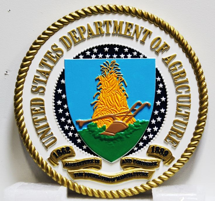 AP-6146- Carved Plaque of the Seal of the US Department of Agriculture, 3-D Artist-Painted