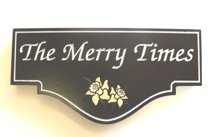"""I18246 -  Engraved Property Name Sign, """"The Merry Times"""", with Buttercup Flower as Artwork"""